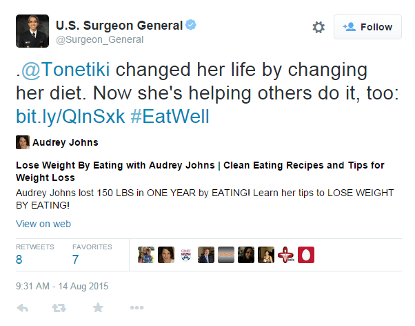 US Surgeon General Tonetiki Tweet