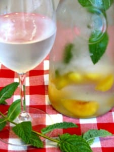 Mint Infused Water with Peaches